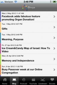 Blogs on Our Jewish Community app