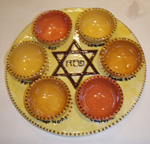 seder plate with bowls and star of david